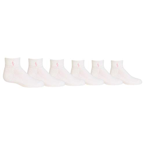Polo Girls Socks in Quarter High with Polo Player (2-12 Years) White/ Pink Pony, 12-3 Shoe/ 8-9.5 Sock (Toddler/Kids)