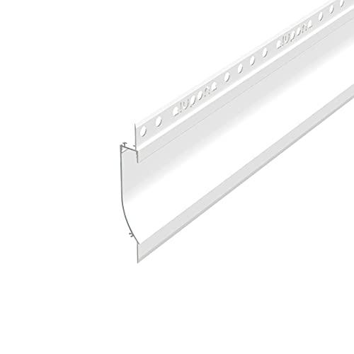 PITO133 (PT133) Trockenbau Profil Aluminium 2m eloxiert   Trockenbau leiste für Led Streifen bis 1,3cm Breite   Trockenbauschiene + Acryl Abdeckung milchig weiß (opal)  Aluprofil belastbar