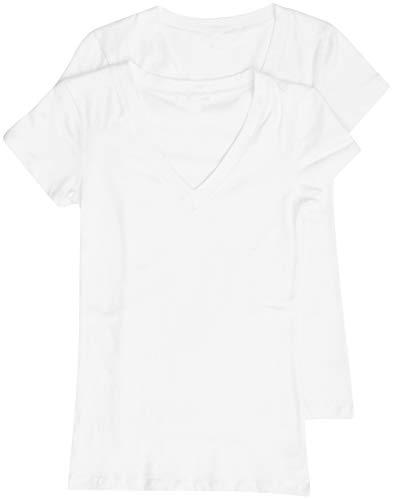 2 Pack Zenana Women's Basic V-Neck T-Shirts Med White, White