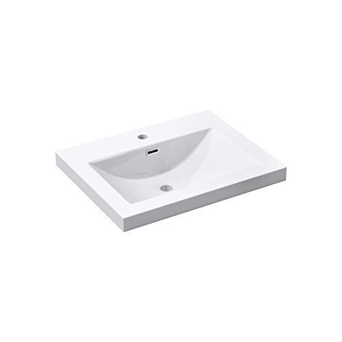 Mai & Mai Lavabo Encastrado Blanco 60cm Lavabo Rectangular de Resina Lavabo con Rebosadero Col01 60x48x13cm