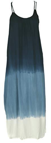 GURU SHOP Schmales Batikkleid, Strandkleid, Sommerkleid, Damen, Blau/weiß, Synthetisch, Size:40, Lange & Midi-Kleider Alternative Bekleidung