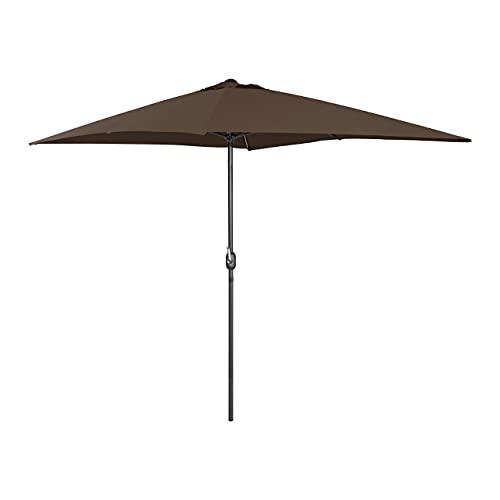 Uniprodo Ombrellone da Esterno Ombrello da Giardino Uni_Umbrella_SQ2030BR (Marrone, Rettangolare, 200 x 300 cm, 180 g/m2)