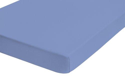 Preisvergleich Produktbild biberna 0077144 Feinjersey Spannbetttuch (Matratzenhöhe max. 22 cm) (Baumwolle) 180x200 cm -> 200x200cm,  azurblau