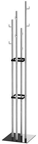 Haku Möbel Garderobenständer -Stahlrohr Edelstahloptik Schirmhalterung - 8 Haken H 182 cm