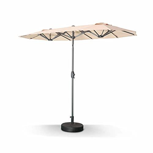 Parasol Droit Ovale. Double. 1x3m – Biarritz – Beige – Parasol à mât Central. Grande Taille. orientable et manivelle d'Ouverture