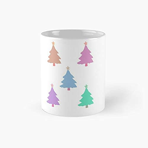 Paquete de árboles de Navidad en colores pastel Taza clásica A - Tazas de cerámica novedosas (11 oz) Regalos navideños inspiradores para hombres y mujeres, él o ella, mamá, papá, hermana, hermano, com