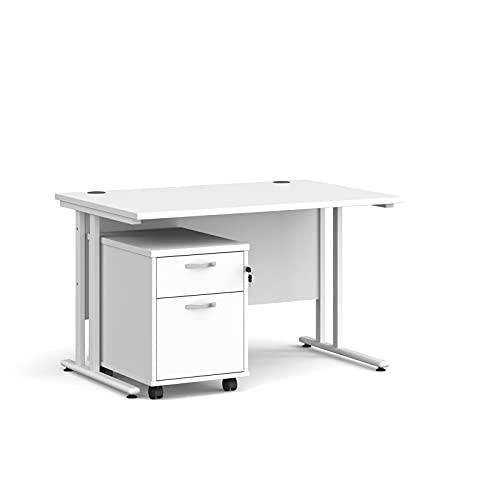 Maestro - Juego de 25 escritorios, 800 mm de profundidad, recto, pedestal móvil con 2 cajones con patas voladizas, color blanco, 120 cm
