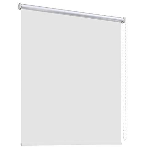 deko-raumshop Thermorollo Verdunkelungsrollo Hitzeschutz Seitenzugrollo Fenster Rollo 11 Farben Breite 60 bis 240 cm Stoff lichtundurchlässig Thermo Beschichtung Weiß Silber (140 x 175 cm/Weiß)