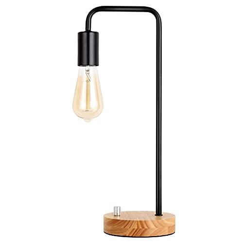 Lámpara de mesa industrial, lámpara de noche en estilo retro, lámpara de mesa vintage para dormitorio, salón, habitación de los niños, oficina, cómoda, color negro