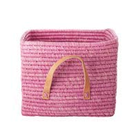 Rice Bastkorb mit Ledergriffen Farbe Natur 30x30x25cm - pinkes rosa