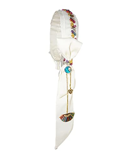 jiarun Diadema bohemia con cuentas para todas las manos, borla y pendientes falsos, accesorio para el pelo, joyería de lujo para mujeres (color metálico: blanco)