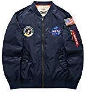 sandbank Men??£¤s USA Flag Lightweight MA-1 Flight Bomber Jacket Windbreaker(US XL =Asian tag 4XL, Blue)
