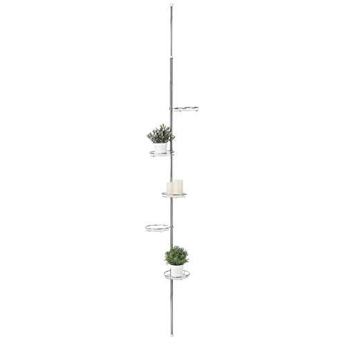 HI Teleskop Blumenregal (5 Ebenen) - Teleskop Blumenständer (vertikal) aus Metall und Glas, Blumenleiter draußen, Blumentreppe Metall, Pflanzenständer Garten oder Balkon Pflanzenregal