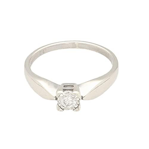 Anillo solitario de oro blanco de 9 quilates con diamante de 0,12 quilates (tamaño M) cabeza de 4 x 4 mm, anillo de lujo para mujer