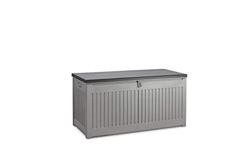 909 OUTDOOR Aufbewahrungsbox für draußen/Garten geeignet, Auflagenbox grau mit Deckel wetterfest abschließbar, in Holzoptik für den Außenbereich, Nutzvolumen 270 Liter, Premium