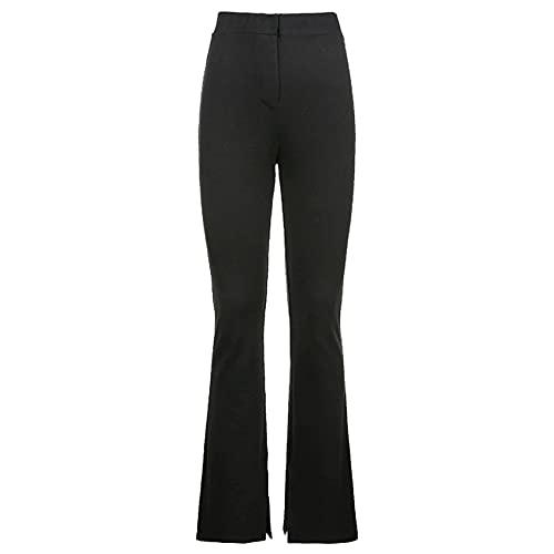 Verano Mujer Cintura Alta Delgado Adelgazante Casual Deportes Color SóLido Dividir Pantalones Mujeres