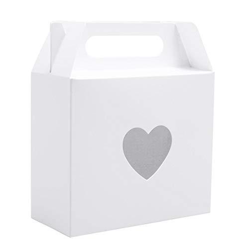 Cajas para Dulces Regalos Jabón Cajitas de Boda Bombones Caramelos Recuerdos (Cudrado Blanco con Corazón)