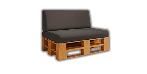 Pack Ahorro Asiento + Respaldo de Cojines para Sofa de palets / europalet | Desenfundable | Interior y Exterior | Color Antracita | Espuma de Alta Densidad.