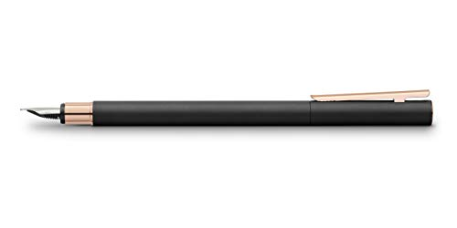 Faber-Castell NEO Slim - Pluma estilográfica de metal, color negro y oro rosa, color Oro rosa.