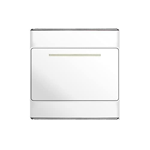 Yoaodpei Panel de Interruptor de Pared Tipo 86 Interruptor basculante Oculto para el hogar Interruptor de alimentación Interior Blanco con lámpara Fluorescente Controlador de energía para el hogar