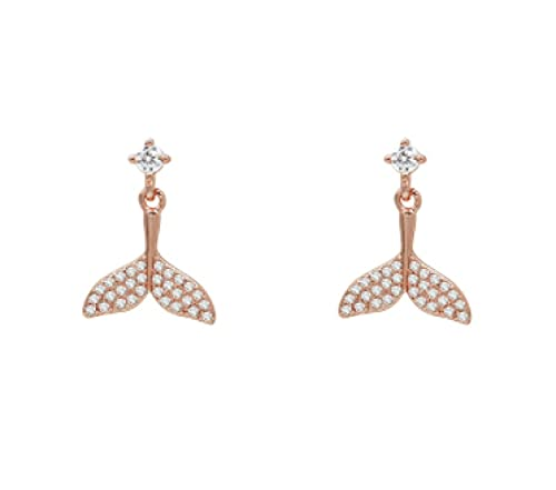 SHUANGJ Temperament Mermaid Tail Earrings Pendientes de delfín Femenino Pendientes de Diamantes Pendientes de Mujer Pendientes pequeños Pendientes