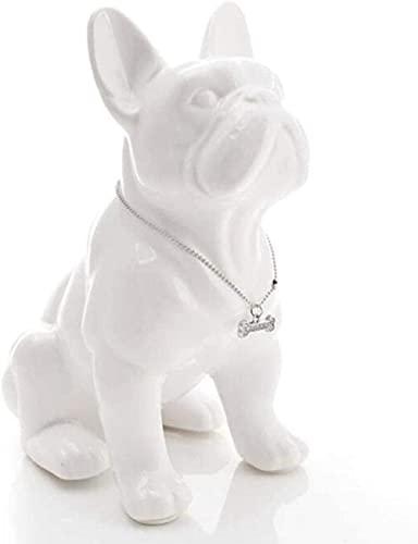 HANER Ceramic French Bulldog Dog Statue Home Decor Crafts Room Decoration Objects Ornament Porcelain Animal Figurine-White_Large