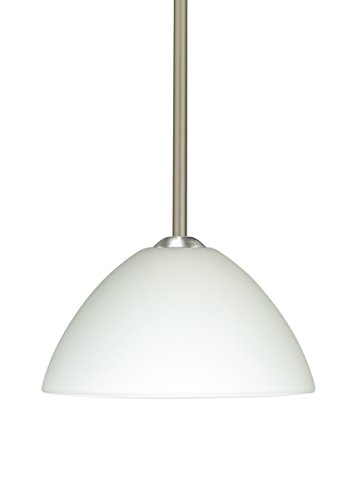 Besa Lighting 1TT-420107-SN 1X75W A19 Tessa Pendant with White Glass, Satin Nickel Finish