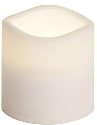 LED Außen Kerze weiß, 7,5cm / Ø7,5cm, mit Timer