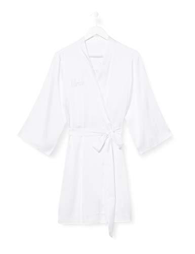 Iris & Lilly Damen Kimono-Morgenmantel aus Baumwolle, Weiß (Weiße Braut), XXL, Label: XXL