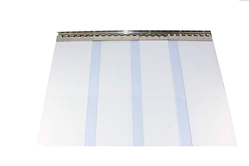PVC Streifenvorhang, Lamellenvorhang 300x3mm 1,25 m breit, komplett vormontiert, transparent, als optimaler Wind und Wetterschutz (Höhe 1,75 m)