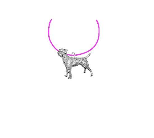 Border Terrier PP-D02 - Collar de peltre inglés con cordón rosa, hecho a mano, 41 cm