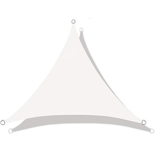 LOVE STORY Toldo Vela de Sombra Impermeable(PES) Triangular 5×5×5m Crema Protección UV para Terraza Camping Jardín al Aire Libre