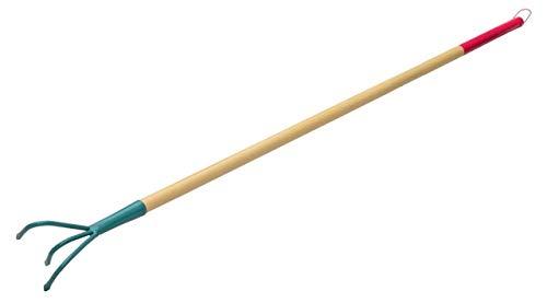 KADAX Grubber, Kultivator für Damen, Gartenzubehör aus Stahl, Gartenhacke mit langem Stiel, Handgrubber, ergonomische Blumenkralle zum Lockern des Bodens, Blumenharke (3 Zinken, mit Holzstiel)
