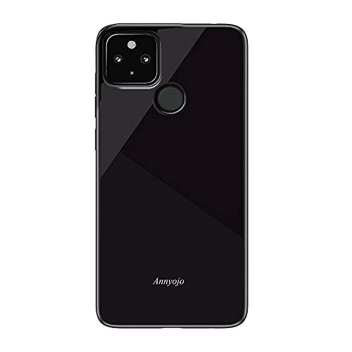 Google Pixel 5a(5G)用 ケース/カバー 背面強化ガラス シンプル タフで頑丈 背面カバー グーグル ピクセル5a (5G) ぴくせる5a かっこいい スリム ケース/カバー スマホケース おしゃれ カバー(ブラック)