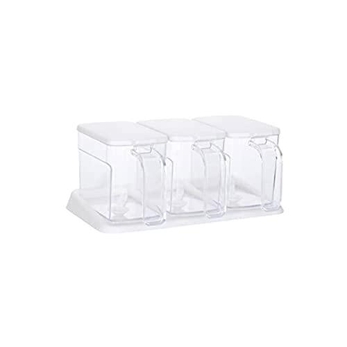 Kruidendoos transparante witte cruet kruiden potten,geschikt voor keuken.4 compartimenten 1 stuks Kruiden potten WSYGHP