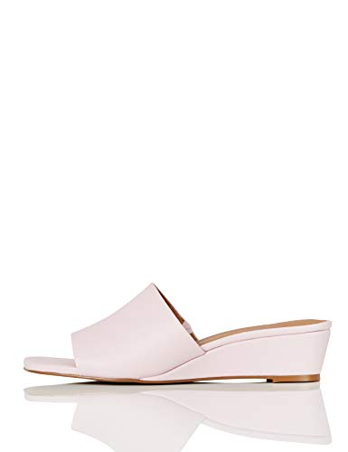 Amazon-Marke: FIND Mule Wedge Peeptoe Pumps, Pink (Pastel Pink), 40 EU
