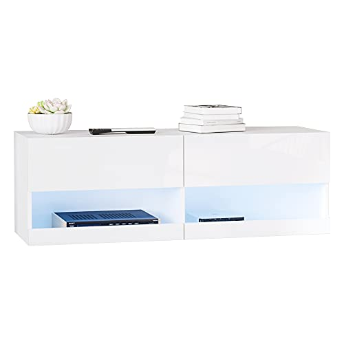 HOMCOM Mueble de TV de Pared Mueble Colgante con Luces LED con Mando a Distancia 120x35x40,5 cm Carga 30 kg para Sala de Estar Dormitorio Blanco
