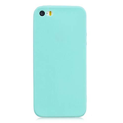 cuzz Custodia iPhone 6/6S+{Film di Vetro temperato}Silicone TPU Cover Morbida Protettiva Custodia Ultra Sottile Leggero Cover-Blu Chiaro