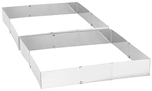 Rosenstein & Söhne Backform rechteckig: 2er-Set Edelstahl-Backrahmen, verstellbar auf maximal 47 x 38 cm (Springform rechteckig)