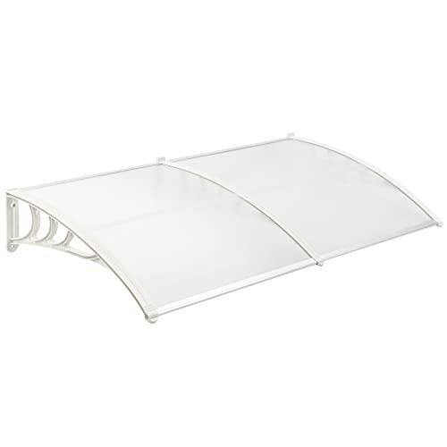 PrimeMatik - Tejadillo de protección 200x80 cm Transparente. Marquesina para Puertas y Ventanas con Soporte Blanco
