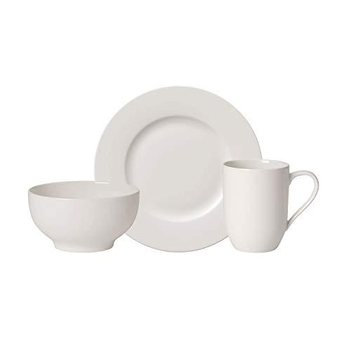 Villeroy & Boch - For Me Service de petit-déjeuner, 6 pièces, ensemble de vaisselle en porcelaine premium pour 2, french bol, assiette, mug, blanc, adapté au lave-vaisselle