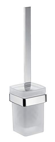 Emco Loft Toilettenbürsten-Garnitur, Glas satiniert/chrom, Toilettenbürste mit Bürstenhalter, Wandmontage - 51500100