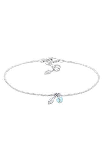 Elli Women's 925 Sterling Silver Feather Bead Boho Swarovski Crystals Bracelet of Length 16 cm