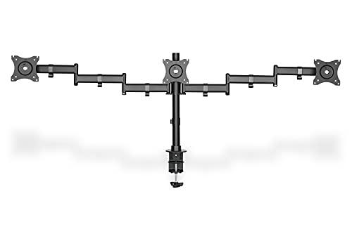 DIGITUS Monitor-Halterung - Tischklemme - 3 Monitore - Bis 27 Zoll - Bis 3x 8 kg - VESA 75x75, 100x100 - Schwarz
