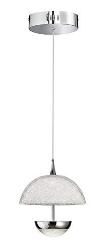 WOFI hanglamp, aluminium, geïntegreerd, 13 W, chroom, 21,5 x 21,5 x 150 cm