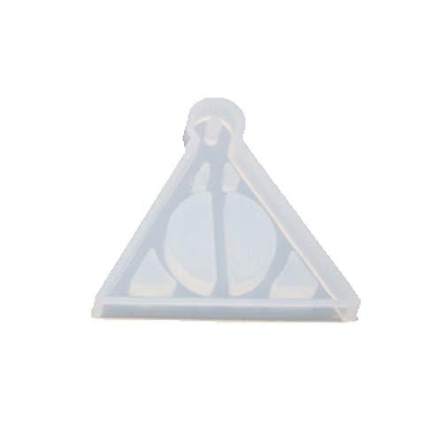 KunmniZ Molde de silicona epoxi de cristal de espejo alto hecho a mano colgante llavero que hace globo de aire caliente forma de triángulo moldes para Pascua