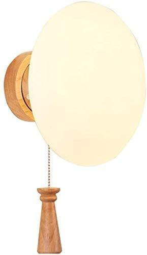 Dkdnjsk Con interruptor de tracción Lámpara de cristal redonda Vintage E27 Lámpara de pared Japanese Modern Wall Light Base Base de madera Personalidad Decoración de la pared Sconence con cableado par