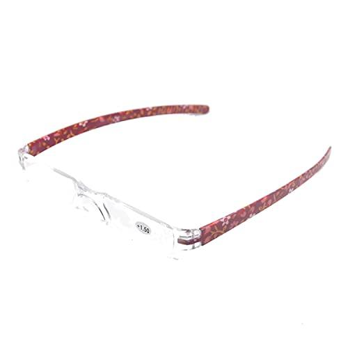 Henghao 携帯用 超軽量リムレス 老眼鏡 8色選択可能 シニアグラス おしゃれ リーディンググラス 専用ケース付 H6035 (レッド花柄, +2.00)