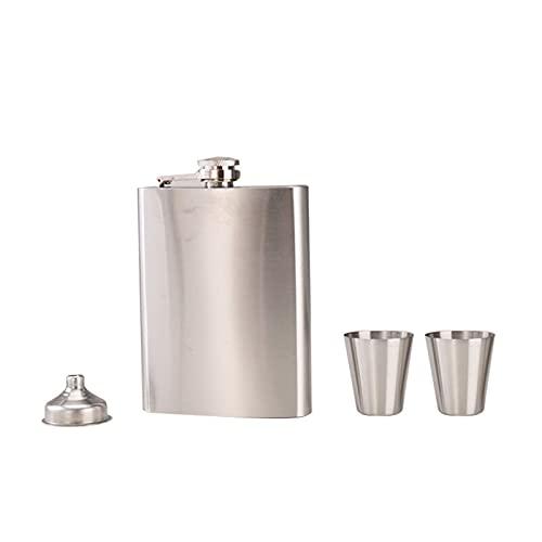 Lshbwsoif Petaca de alcohol frasco de la cadera vasos de chupito de acero inoxidable para Jim Beam Jack Daniels embudo herramienta para almacenar alcohol de whisky (tamaño: tamaño libre; color: A)