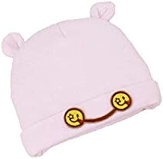 Baby Decoration Hat Infant Expression Embroidery Hedging Cap Baby Warm Cap Newborn Sleeping Hat for 0-5 Months(Pink) Cute Cap (Color : Pink, Size : Head Circumference)